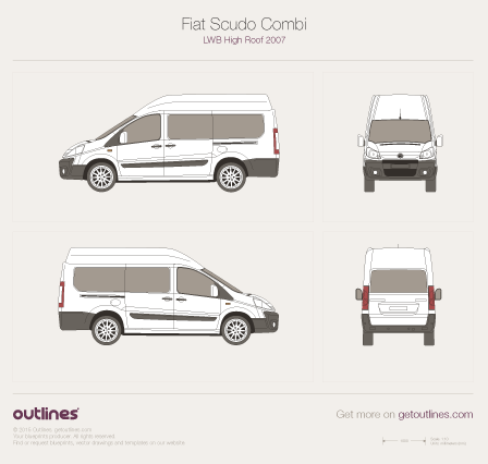 2007 - 2016 Fiat Scudo Combi LWB High Roof Maxi Wagon drawings