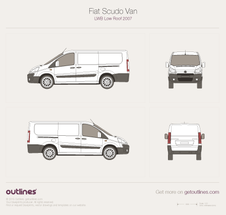 2007 - 2016 Fiat Scudo Van LWB Low Roof Wagon drawings