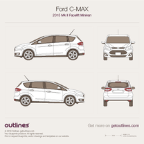 2015 Ford C-Max II Facelift Minivan blueprint