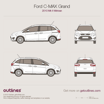 2010 Ford C-Max Grand II Minivan blueprint
