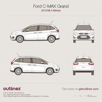 2010 Ford C-Max Grand II Minivan blueprint