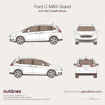 2015 Ford C-Max Grand II Facelift Minivan blueprint