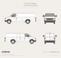 2003 Ford E250 Cargo LWB Facelift Van blueprint