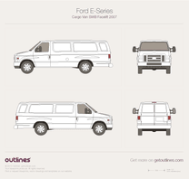 2007 Ford E-Series Cargo LWB Facelift II Van blueprint