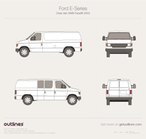 2003 Ford E-Series Crew SWB Facelift Van blueprint