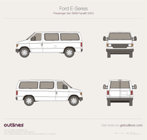 2003 Ford E150 Passenger SWB Facelift Wagon blueprint