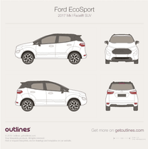 2017 Ford EcoSport Mk I Facelift SUV blueprint