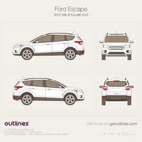 2015 Ford Escape III Facelift SUV blueprint