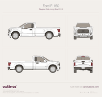 2015 Ford F-150 Regular Cab Long Box Pickup Truck blueprint