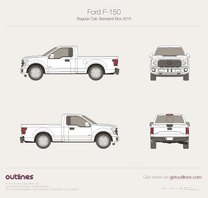2015 Ford F-150 Regular Cab Standard Box Pickup Truck blueprint