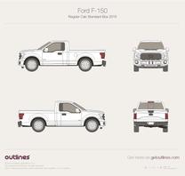 2015 Ford F-150 Regular Cab Standard Box Pickup Truck blueprint
