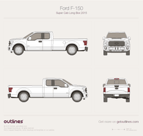 2015 Ford F-150 SuperCab Long Box Pickup Truck blueprint