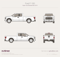 2015 Ford F-150 SuperCab Standard Box Pickup Truck blueprint