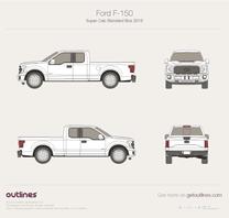 2015 Ford F-150 SuperCab Standard Box Pickup Truck blueprint