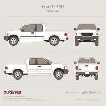 1997 Ford F-150 Mk X Extended Cab 2+2 Pickup Truck blueprint