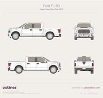 2015 Ford F-150 SuperCrew Short Box Pickup Truck blueprint