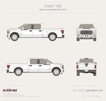 2015 Ford F-150 SuperCrew Standard Box Pickup Truck blueprint