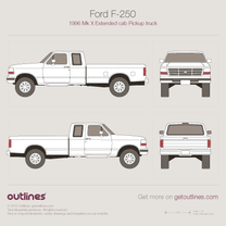 1996 Ford F-250 Mk X Extended Cab 2+2 Pickup Truck blueprint