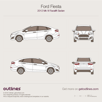 2012 Ford Fiesta Mk VI Facelift Sedan blueprint