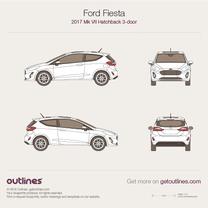 2017 Ford Fiesta Mk VII 3-doors Hatchback blueprint