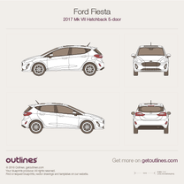 2017 Ford Fiesta Mk VII 5-doors Hatchback blueprint