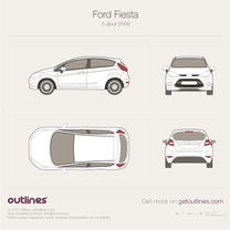 2008 Ford Fiesta Mk VI 3-door Hatchback blueprint