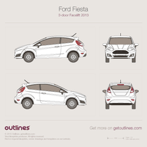 2014 Ford Fiesta Mk VI 3-door Facelift Hatchback blueprint