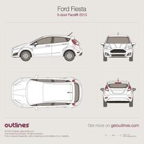 2014 Ford Fiesta Mk VI 5-doors Facelift Hatchback blueprint