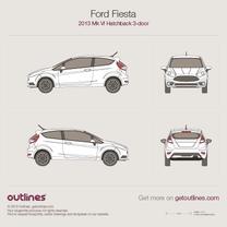 2013 Ford Fiesta ST Mk VI 3-door Hatchback blueprint