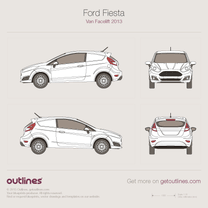 2012 Ford Fiesta Mk VI Facelift Van blueprint