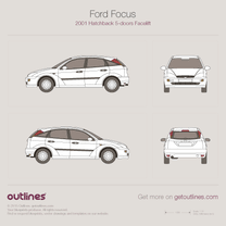 2001 Ford Focus Mk I 5-doors Facelift Hatchback blueprint
