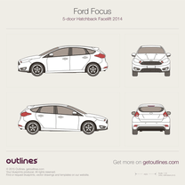 2014 Ford Focus III 5-door Facelift Hatchback blueprint