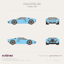 1964 Ford GT40 Le Mans LM Coupe blueprint