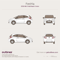 2009 Ford Ka II 3-doors Hatchback blueprint