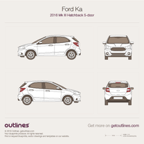 2016 Ford Ka III 5-doors Hatchback blueprint