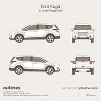 2016 Ford Kuga II Facelift SUV blueprint