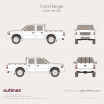 1998 Ford Ranger Mk II Crew Cab Facelift Pickup Truck blueprint