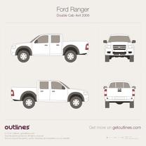 2004 Ford Ranger Mk II Crew Cab Facelift Pickup Truck blueprint