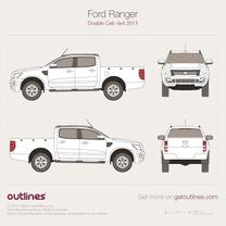 2006 Ford Ranger Mk II Crew Cab Facelift Pickup Truck blueprint