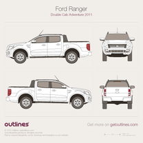 2011 Ford Ranger Adventure Double Cab Pickup Truck blueprint