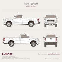 2015 Ford Ranger Single Cab Pickup Truck blueprint