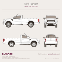 2006 Ford Ranger Mk II Regular Cab Short Bed Facelift Pickup Truck blueprint