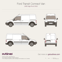 2002 Ford Transit Connect Van LWB High Roof Van blueprint