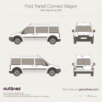2002 Ford Transit Connect Wagon LWB High Roof Wagon blueprint