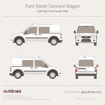 2009 Ford Transit Connect Wagon LWB High Roof Facelift Wagon blueprint