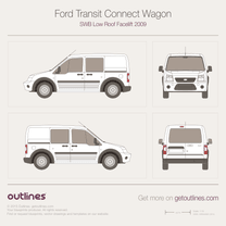 2009 Ford Transit Connect Wagon SWB Low Roof Facelift Wagon blueprint