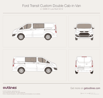 2012 Ford Transit Custom Double Cab-in-Van L1 SWB H1 Low Roof Van blueprint