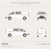 2012 Ford Transit Custom Double Cab-in-Van L2 LWB H1 Low Roof Van blueprint