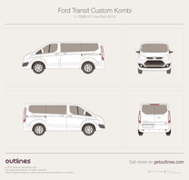 2012 Ford Tourneo Custom L1 SWB H1 Low Roof Minivan blueprint