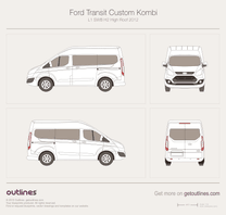 2012 Ford Transit Custom Kombi L1 SWB H2 High Roof Minivan blueprint